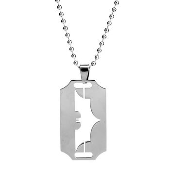 Hip Hop Jewelry Men Stainless Steel Hollow  Blade Razor Shape Pendant Necklace Punk Bead Chain Necklace Male Gifts