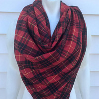 Women's-Handmade-Winter-Chunky-Shawl-Wrap-Plaid-Blanket-Scarf-Red-Gifts for her-Accessories-Flannel