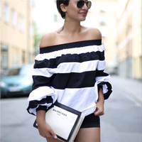 Creative Colorful Bright Stylish Long Sleeve Shirt Sexy Stripes Tops Lights [10199610823]