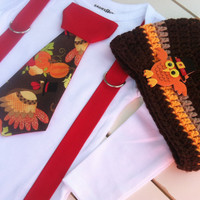 Baby boys Thanksgiving tie bodysuit with Suspendors and Hat-Fall Autumn Bodysuit - Fall Birthday-Cake Smash