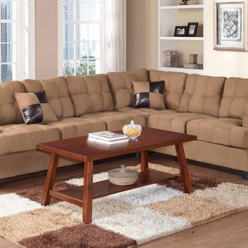 2 pc Clarissa collection Saddle plush microfiber upholstered tufted seat and back reversible sectional sofa with pillows