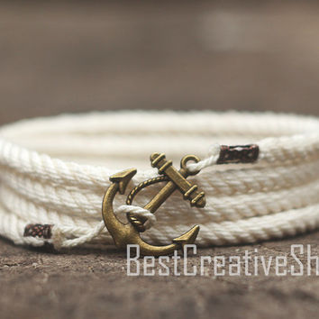SALE! Anchor Bracelet / Cream Bracelet / Sea Nautical Cotton Bracelet / Marine Rope Bracelet / Mens Bracelet Women and Men Rope Bracelet