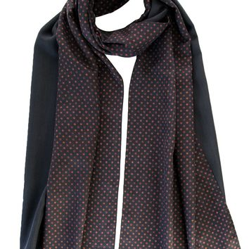 Tito-Double Face Heavy Weight Silk Scarf-Black & Burgundy