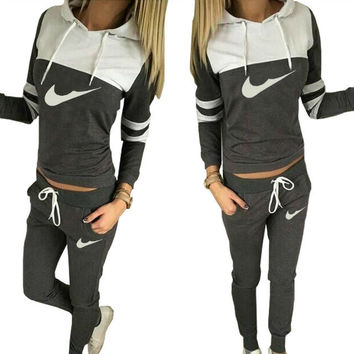 2016 Women Tracksuit Sportswear Brand Set Sports Suit Women Hooded Sweatshirts Casual Hooded + Pants Sport Jogging Suits 2 Units