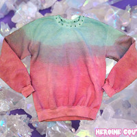 Custom Color Sweatshirt with Spiked Collar in Dipdye or Solid colors