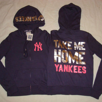 ♥ VICTORIA'S SECRET HOODIE New York YANKEES Take Me Home BLING Sequin LOVE PINK