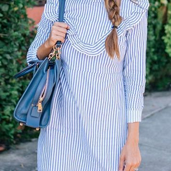 Light Blue Striped Ruffle Band Collar Casual Mini Dress