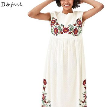 Dfeel New White Sleeveless Boho Long Dress Vintage Floral Embroidery Casual Maxi Dresses Hippie Women Party Clothing