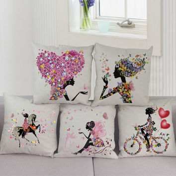 Romantic Love Flower Cushion Cover Sofa Chair Waist Cotton Linen Pillow Cover Colorful Pillowcase Home Decor