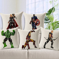 OWNST Free Shipping 45cm * 45cm Linen Cotton Captain America Spideman Superman Batman Ironman Throw Pillow Case