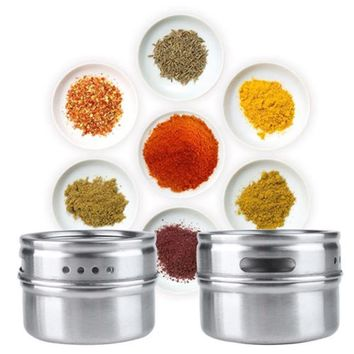 1pcs/lot Magical magnetic Stainless steel spice jar monosexuality tank sauce pot seasoning bottle Kitchen storage tools ST87