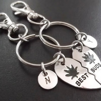 Sale...... Best Buds, Best friends, BFF,  (2pcs) keyring, keychain, bag charm, purse charm, monogram personalized item No.874