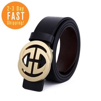 Classic Leather Vintage Belt Gucci Pattern Big G Metal Buckle Men Gift Black