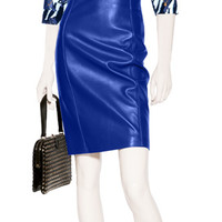 Versace - Electric Blue Leather Skirt