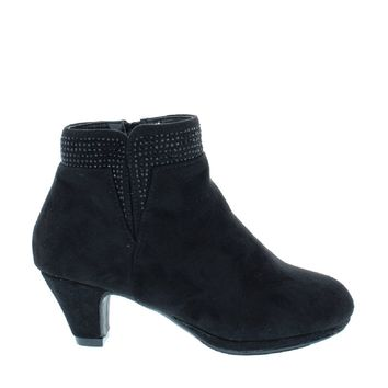 Low Heel Rhinestone Kids Bootie (BLACK)