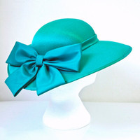 Chic Green Satin Hat With Accent Bow - Wide Brim Vintage Hat - Headways By Albert - Wedding Races