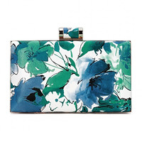 Blue and Green Floral Painted Leather Clutch Bag