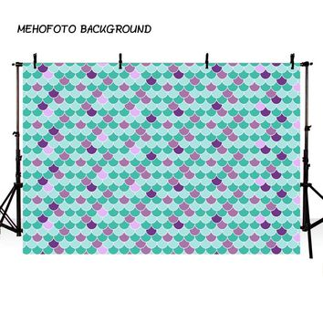 MEHOFOTO Mermaid Photography Backdrop Celebrate Fish Scales Princes Birthday Party Backdrop for Pictures Baby Shower
