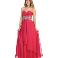 2014 Prom Dresses - Cherry Beaded Chiffon Asymmetrical Gown
