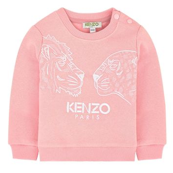Kenzo Baby Girls Pink 'Tiger & Friends' Sweatshirt