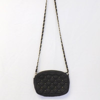 VINTAGE 1980's Black Quilted Faux Leather Metal Gold Tone Studded Handbag Purse Gold Chain Small Bag Hipster Glam Punk Rocker 90s Chick