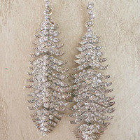 Sparkling Silver Feather Earrings [4415] - $12.00 : Vintage Inspired Clothing & Affordable Dresses, deloom | Modern. Vintage. Crafted.