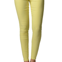 Yellow Stretchy Slim Fit Pants