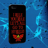 Zelda, I Rule You Rule Lets all go to Hyrule Logo, iPhone 4, 5, 5s, 5c, Samsung galaxy s3, s4, iPhone case, iPhone cover
