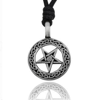 5-Pointed Star Silver Pentagram Pewter Charm Necklace Pendant Jewelry With Cotton Cord