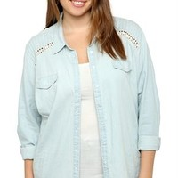 Plus Size Long Sleeve Chambray Top with Pin Tucked Crochet Shoulders