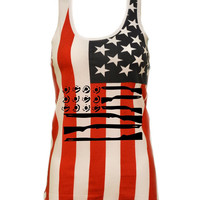 American gun Flag shirt 4th of july Usa Flag Women's Triblend Tanktop