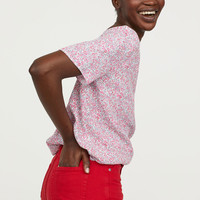Short-sleeved Viscose Blouse - White/small flowers - Ladies | H&M US