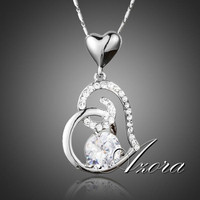 AZORA Valentine's Day Gift of Love Clear Heart Swiss AAA Cubic Zirconia Pendant Necklace TN0156