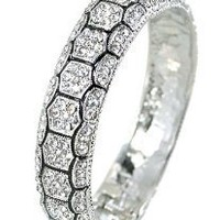 Vintage Style Hinged Silver Tone Bracelet with White Crystals 15mm Wide: Jewelry: Amazon.com