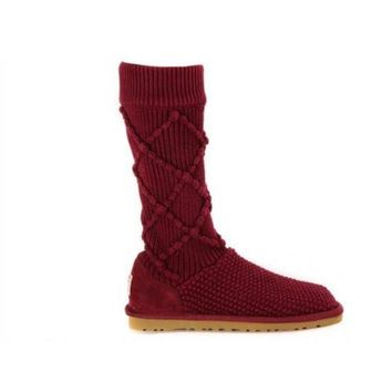 Cheap Ugg Boots Knit Classic Argyle 5879 Sangria For Women 95 33