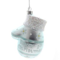 Holiday Ornaments Baby's Mitten First Christmas Glass Ornament