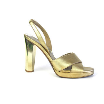 Vintage Diane Von Furstenberg Heels Gold Heels Strappy Disco Platform High Heels Gold Slingback Heels Metallic Party Bridal Shoes Size 8
