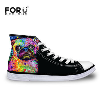 FORUDESIGNS Women High Top Canvas Shoes Colorful Pet Dog Pug Bulldog Printing Vulcanize Shoes Casual Teens Girls Students Flats