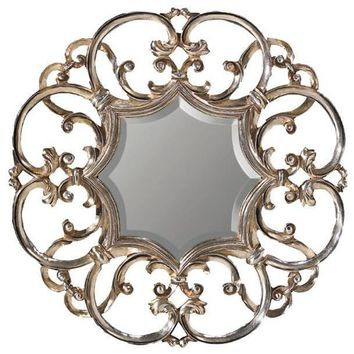 GM Luxury Edit Round Decorative Wall Art Hand Carved Mirror Antique Silver Leaf 35.4x35.4