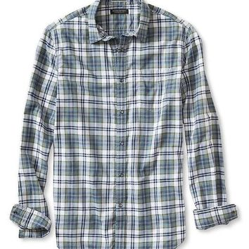 Banana Republic Mens Tailored Slim Fit Plaid Snap Shirt