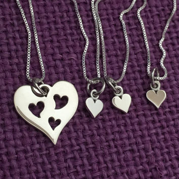 Mother Daughter Necklace - Mother three 3 Daughters Jewelry Set of4 Sterling Silver- Mommy and Me - Mother Child Jewelry - Mother's Day Gift