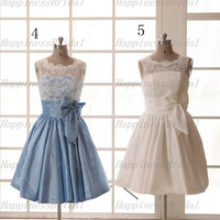 New A-line Jewel Above the knee  Lace Taffeta Bow Short Bridesmaid Dresses Prom Dresses Formal Dresses  Evening Dresses Party Dresses 2013