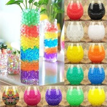 300pcs Water Plant Flower Jelly Crystal Soil Mud Water Pearls Gel Beads Balls Home Vase Decoration [7983478599]