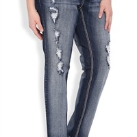 Plus Size Ariya Curvy Fit Skinny Jean with Destruction and Embroidery