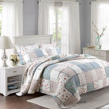CHAUSUB New Cotton Patchwork Quilt Set 3PCS Floral Printed Bedding Quilted Bedspread Bed Cover Sheets Shams Coverlet King Size