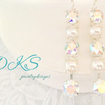Swarovski 8MM Five Stone Bridal Earrings, Lever Back, Dangles, Drops, AB, Pearls, DKSJewelrydesigns, FREE SHIPPING