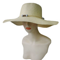 PLAIN FLOPPY WITH BEAD SUN HAT