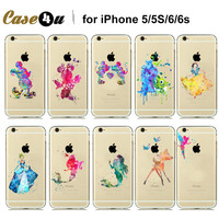 Amazing Beautiful Watercolor Art Designs Transparent Soft TPU Case For  iPhone 6s 6 5S 5 Cinderella Snow White Tinker Bell Case