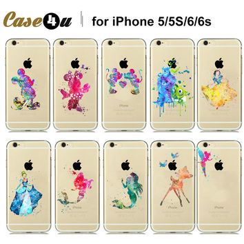 Amazing Beautiful Watercolor Art Design Transparent Soft TPU Case For iPhone5s 6s 6 7 Plus Cinderella Snow White TinkerBell Case