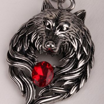 SHIPS FROM USA Big wolf stainless steel men necklace 316L pendant W chain biker heavy jewelry animal charm GN41